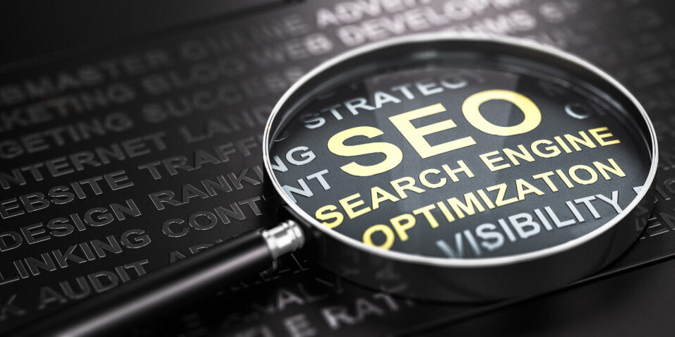 Magnifying glass and many words over black background, with the text SEO (Search Engine Optimization) written with golden letters. Internet marketing and web analytics concept. 3D illustration